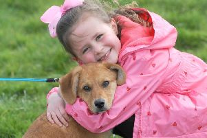 Amelia Calligan, 6, with dog Marley.
