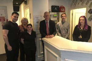 Blackpool South MP Gordon Marsden visiting the La Tour hotel on Albert Road which runs a trainee scheme is for 18 to 24-year-olds and run by St. Camillus Training in conjunction with their training provider awarding body B-Skill
