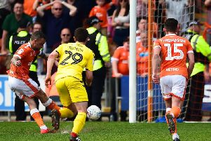 Jay Spearing gives Blackpool the lead from the penalty spot