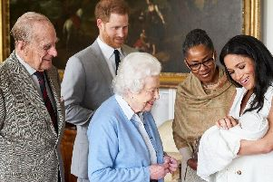The Duke and Duchess of Sussex are joined by her mother, Doria Ragland, as they show their new son, born Monday and named as Archie Harrison Mountbatten-Windsor, to the Queen Elizabeth II and the Duke of Edinburgh at Windsor Castle. (PIC: Chris Allerton - copyright SussexRoyal)