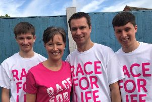 Karen Brett, of Warton, with her husband Jez, 51 and two sons Josh, 19 and Jack, 16, who are taking part in Race for Life in Preston this June