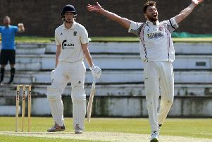 Lancashire's Richard Gleeson celebrates a wicket playing for hometown club Blackpool earlier in the season