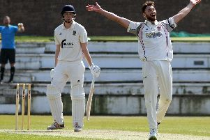 Richard Gleeson taking a wicket for Blackpool against Fleetwood last month before his heroics for Lancashire