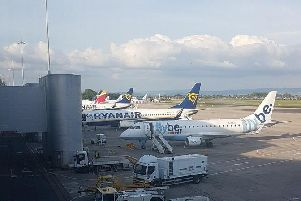 Grounded planes at Manchester Airport this afternoon. Picture courtesy @Bondy_2612