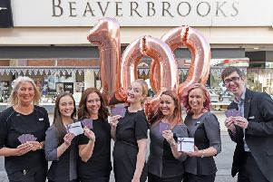 The team from Beaverbrooks' Blackpool store ready to celebrate the company's 100th anniversary