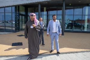 A delegation from the UAE  has visited Blackpool Airport Enterprise Zone. Pictured left to right area, His Excellency Mahmood AlHashmi, Rishi Somaiya, Atif Malik