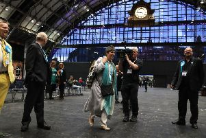Brexit Party candidate Clare Fox arrives ahead of the result in the European Parliamentary elections count at the Central Convention Complex in Manchester