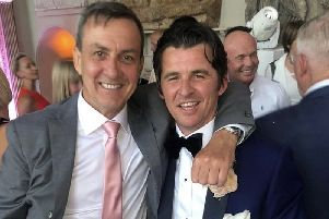 Town chairman Andy Pilley and Joey Barton at the latter's wedding