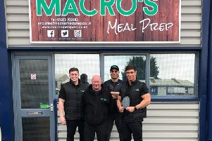 Zack, far right, and the team at Macros Meal Prep.