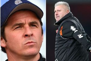 Fleetwood Town boss Joey Barton and Blackpool boss Terry McPhillips