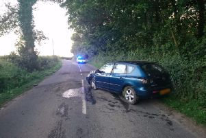 The car which crashed close to Treales tonight. Photo: Lancs Road Police