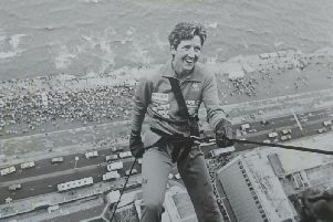 Pat Wood at the start of an abseil decent in 1986