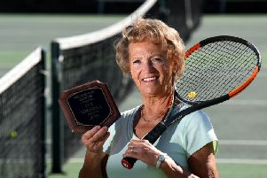Eva at St Annes Tennis Club with her Hall of Fame plaque