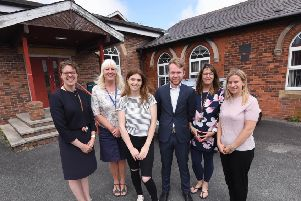 Baines Sixth Form is closing down.  L-R are headteacher Alison Chapman, sixth form study coordinator Karen Johnson, students Beth Waring and Sam Dow, subject leader in business and economics Sharon Wright and head of sixth form Emma Dawber.