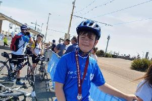 Seb Shepherd, 11, from Kirkham, who took part in the Manchester to Blackpool bike ride