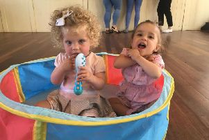 Alba Butler and her cousin Ellie Browne, who has a hole in her heart