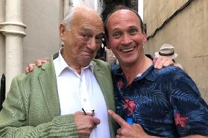 Steve Royle (right), who will play Dan Leno at Lytham Hall in August, with comedy legend Roy Hudd