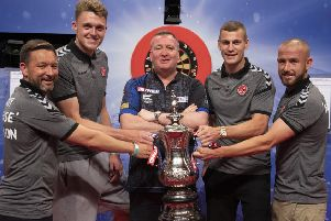 Barry Nicholson, Harry Souttar, Glen Durrant, Paul Coutts and Paddy Madden on stage      Picture: Lawrence Lustig/PDC