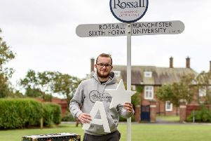 Rossall student Alfie Ellis celebrates his A Level results.