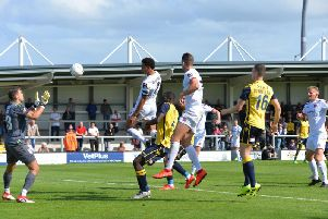 Lewis Montrose climbs highest to head Fylde's only goal in his comeback game