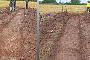 Two views of the  uncovered Roman road at Bilsborrow, looking from east and west.