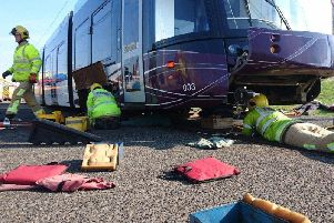 Firefighters have regular training sessions in order to act efficiently and quickly when a real life accident on the tram track happens