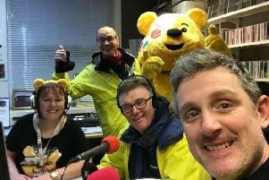 Fun on air: Laura Balshaw with at Radio Lancashire with Steve Royle, John Gilmore and Graham Liver for Children In Need