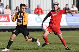 Man of the match Lewis Taylor in action for Bridlington Town in the win against Handsworth