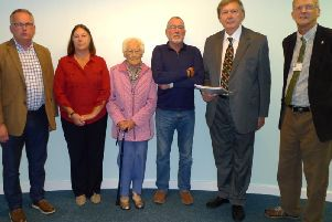 Pictured left to right: Cllr Richard Burton, Ms Jane Tye,  Mrs Jean Wormwell MBE, Simon Barugh, Sir Greg Knight MP and Cllr Chris Matthews.