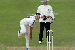 Jack Brooks fires in a delivery against Surrey at Headingley.