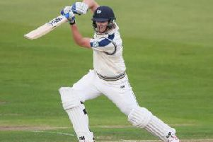 Yorkshire batsman Alex Lees on the drive