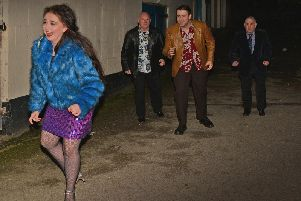 Actors (left to right) Kerri Arundel, Richard Mainprize, Peter Hare and Kenneth Davison shooting the chase scene on Blue Billy Hill