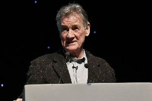 Sir Michael Palin on stage at Scarborough Spa