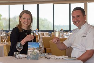 Sally Iggulden, Chief Executive at Beverley Racecourse, toasts the partnership with James Mackenzie, Chef and Proprietor at Michelin-starred gastropub The Pipe and Glass.