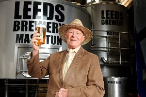 Geofrey Boycott with his own beer, 'Boycott's Best', brewed by the Leeds Brewery with money going to the Yorkshire Air Ambulance.  Picture by Tony Johnson.