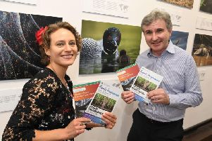 Curator Helena Cox with Cllr Shaun Horton at the exhibition in Beverley.
