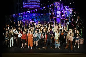 The whole cast at the dress rehearsal for for the Bridlington Upper School Rock of Ages show