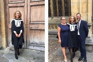 Left: Ruby on her graduation day at Oxford. Right: Ruby pictured with proud parents Lisa and Paul.