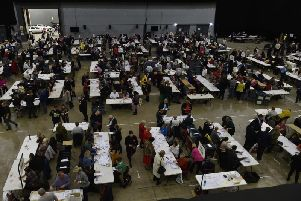 An election count in Leeds. Picture: Steve Riding.