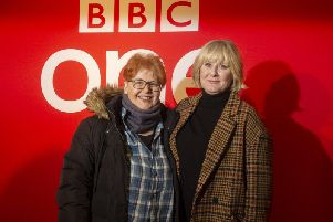 Screen writer Sally Wainwright with actor Sarah Lancashire on the red carpet at the Yorkshire Premiere of Series 5 of BBC One drama Last Tango in Halifax