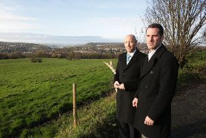 Councillors Howard Blagbrough and Scott Benton at greenbelt land off Thornhills Lane, Clifton.