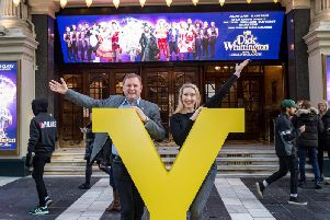 Emma Williams with Sir Gary Verity, Chief Executive of Welcome to Yorkshire at Londons Palladium