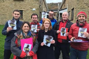 Halifax MP Holly Lynch, centre, front, with councillors and campaigners opposing proposals for an incinerator in Sowerby Bridge