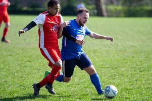 Hebden Royd RS v Shelf FC at Mytholmroyd' Star's Foysol Ahmed (left) and Matty Hartley
