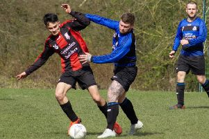 Ryburn v Shelf United'Ben Grech (in blue)  for Shelf'Picture: Mat Asquith