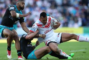 Zeb Taia dislocated his shoulder against Leeds Rhinos on Friday. PIC: Ash Allen/SWpix.com.