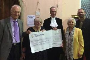 Organiser Barry Brown with Freda Whittle from the air ambulance charity, the High Sheriff, helper Maureen Brown, and Robert Foreman from the chapel.