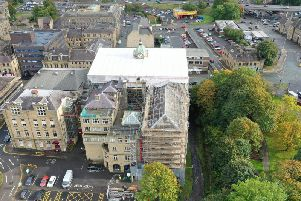 Repair work being carried out on Burnley Town Hall. Photo: UK Restoration Services