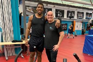 MT3 Fitness owner Mark Turner with boxer Anthony Joshua