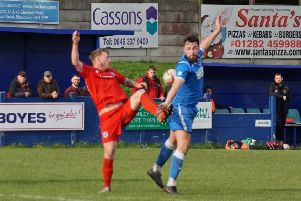 Action from Padiham's 1-0 home defeat against Bishop Auckland in the Buildbase FA Vase